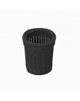 Koszyk na sztućce z poliratanu okrągły czarny
