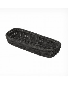 Koszyk na sztućce z poliratanu prostokątny czarny