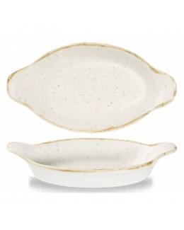 Owalne naczynie z uszami 205 x 113 mm biały - CHURCHILL Stonecast Barley White
