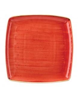 Talerz kwadratowy 268 mm czerwony - CHURCHILL Stonecast Berry Red