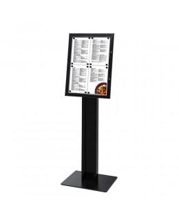 Wolnostojący stojak na menu w kolorze czarnym 4 x A4 - LED