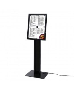 Wolnostojący stojak na menu w kolorze czarnym 4 x A4 - podświetlany LED
