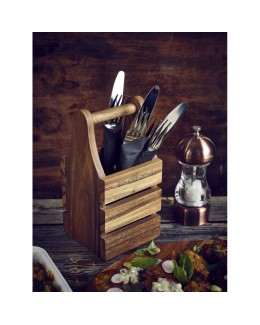 Pojemnik drewniany na sztućce 10 x 10 x 20 cm - GenWare