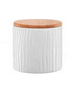 Pojemnik ceramiczny AMBITION Tuvo z wytłoczeniami z bambusową pokrywką 670 ml