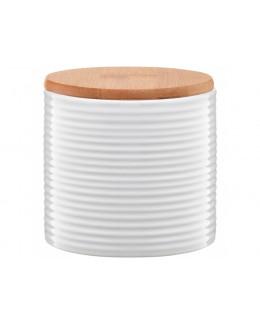 Pojemnik ceramiczny AMBITION Tuvo paski z bambusową pokrywką 670 ml