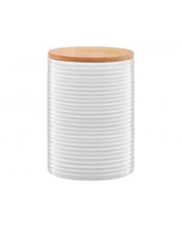 Pojemnik ceramiczny AMBITION Tuvo paski z bambusową pokrywką 1110 ml