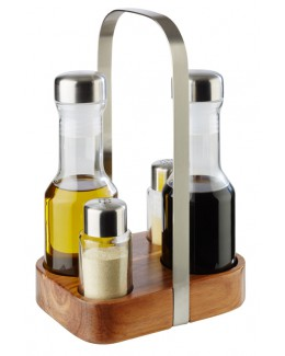 Pojemniki na sól, pieprz, oliwę i ocet z podstawką - APS Wood