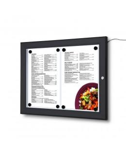 Czarna gablota na menu 2 x A4 z oświetleniem LED