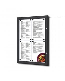 Czarna gablota na menu 4 x A4 z oświetleniem LED