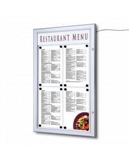 Zewnętrzna gablota na menu 4 x A4 z oświetleniem LED